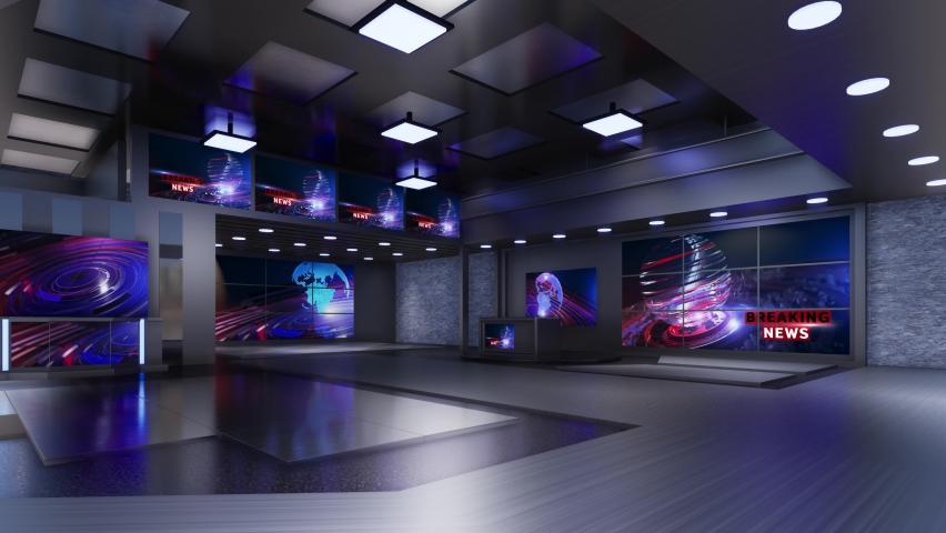 3D Virtual TV Studio News | Shutterstock HD Video #1059201998