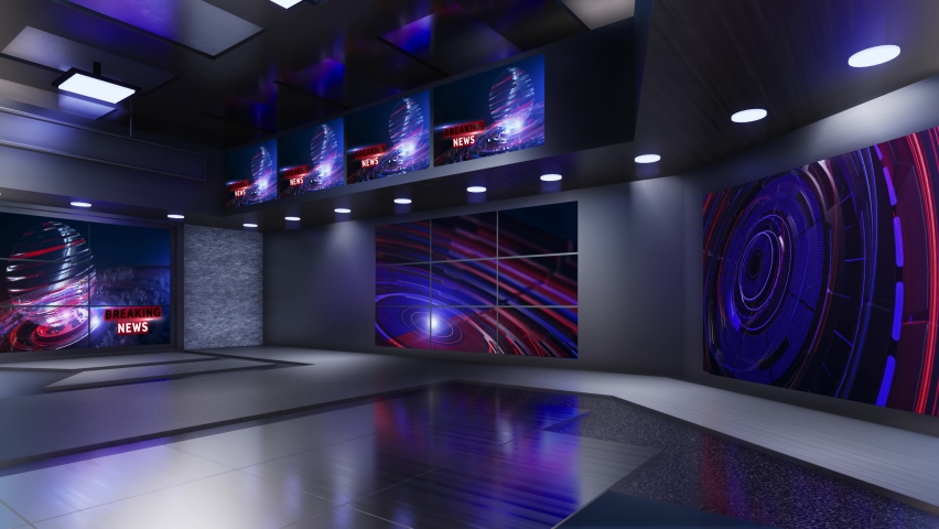 3D Virtual TV Studio News | Shutterstock HD Video #1059202001
