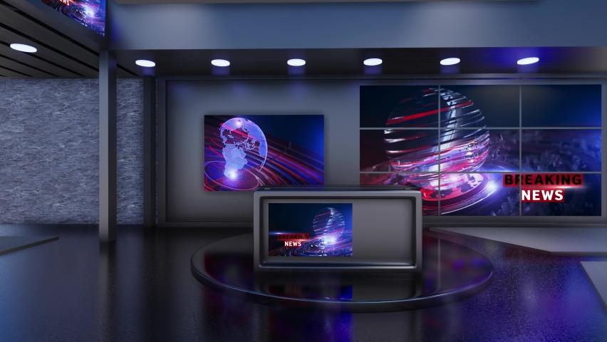 3D Virtual TV Studio News | Shutterstock HD Video #1059202004