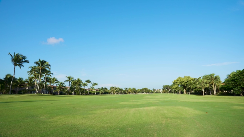 Large green golf course. Green clipped grass, trees and palms. Golf Club Cocotal Punta Cana Dominican Republic. | Shutterstock HD Video #1059203981