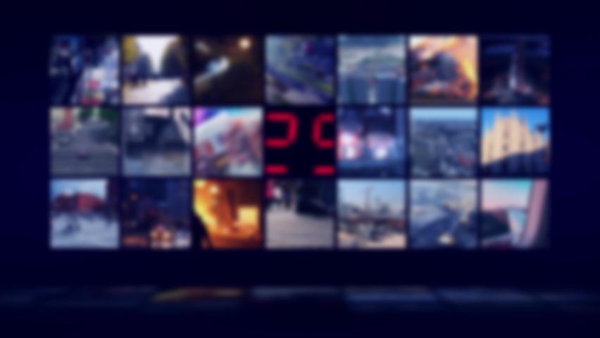 Blurry TV Studio Background loop. Dark blue studio aura. Perfect reflection.control room, Newsroom | Shutterstock HD Video #1059209732