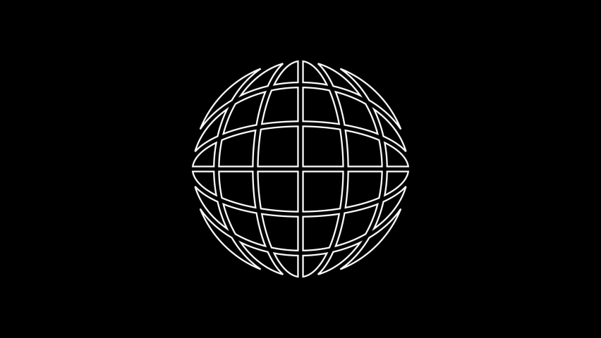 White line Earth globe icon isolated on black background. World or Earth sign. Global internet symbol. Geometric shapes. 4K Video motion graphic animation | Shutterstock HD Video #1059212666