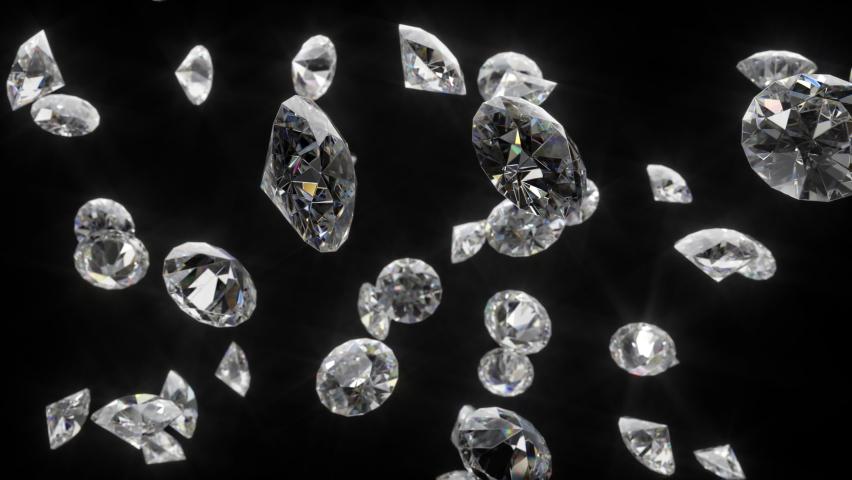 Diamonds falling in loop, crystal diamonds refracting rainbow reflections.