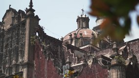 4K Rotating View From Right to Left of One Side of The Mexico City Cathedral During a Sunny Day
