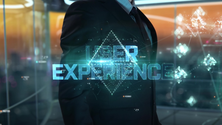 Businessman with User Experience hologram concept Royalty-Free Stock Footage #1059229046