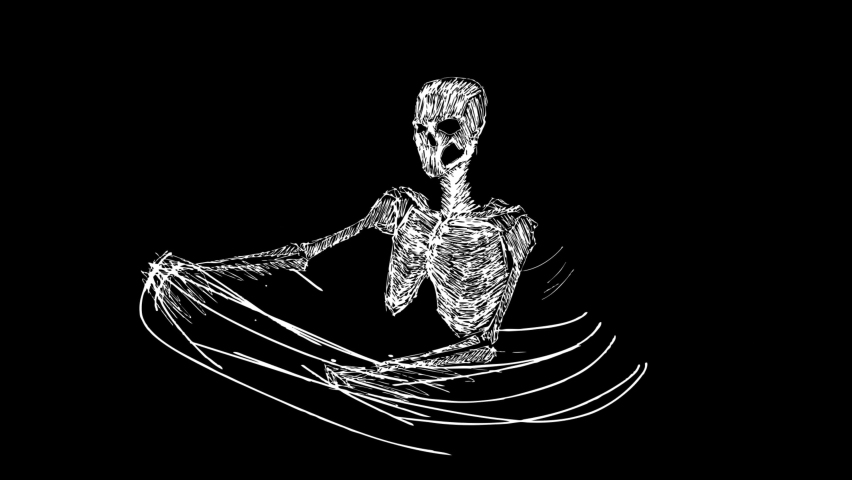Human skeletons rotating in glitch distortion style. Digital abstract motion background. Modern art concept with video damage, noise pixel elements. 3d animation.