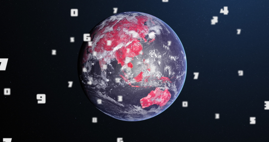 Animation of Covid 19 coronavirus number of cases increasing over planet Earth with continents turning red on dark blue background. Global Covid 19 pandemic concept digitally generated image. | Shutterstock HD Video #1059235118