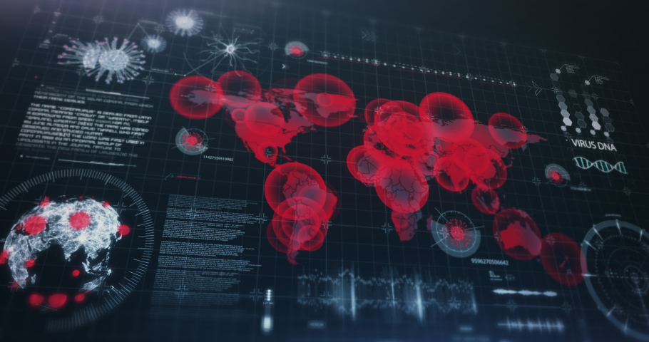 Virus spreading world map, highly detailed HUD interface, covid-19 global pandemic, alarm on the doctor's monitor 3D render graphics animation   Shutterstock HD Video #1059240218