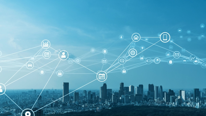 Smart city and communication network concept. 5G. LPWA (Low Power Wide Area). Wireless communication. Royalty-Free Stock Footage #1059243926