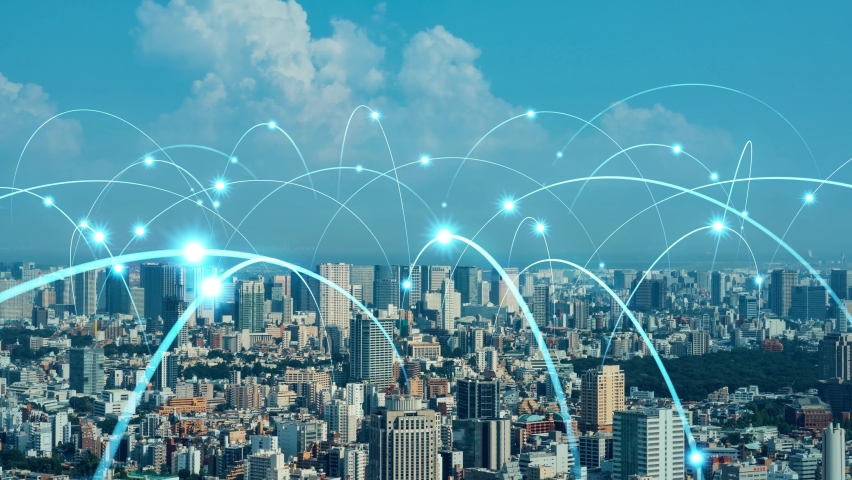 Smart city and communication network concept. 5G. LPWA (Low Power Wide Area). Wireless communication. Royalty-Free Stock Footage #1059243929