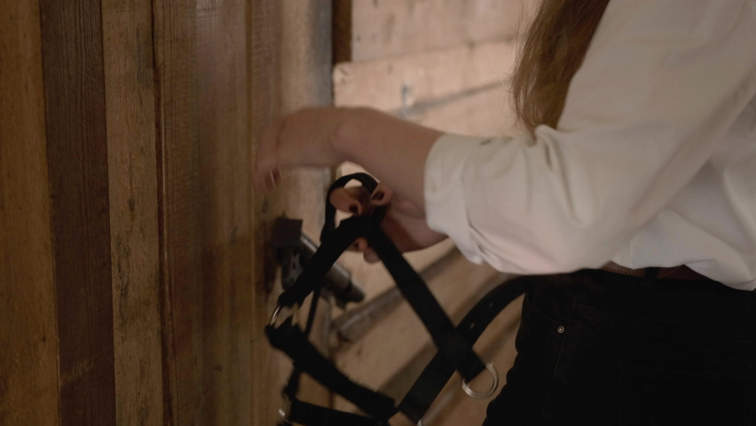A girl in a white shirt and gloves puts a bridle on a horse | Shutterstock HD Video #1059246134