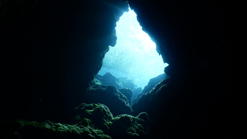 Sun ray and sun beam scenery underwater waves on surface of water slow ocean scenery | Shutterstock HD Video #1059246899