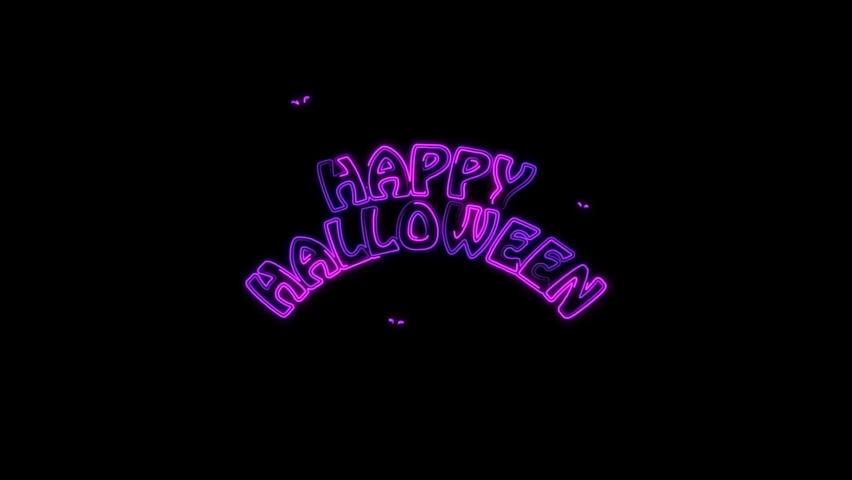 Abstract seamless 4K animation of  neon lines Halloween animation on black background.Animation For The Holiday Halloween Scary pumpkin face at night with moving on dark space. Holiday halloween | Shutterstock HD Video #1059247325