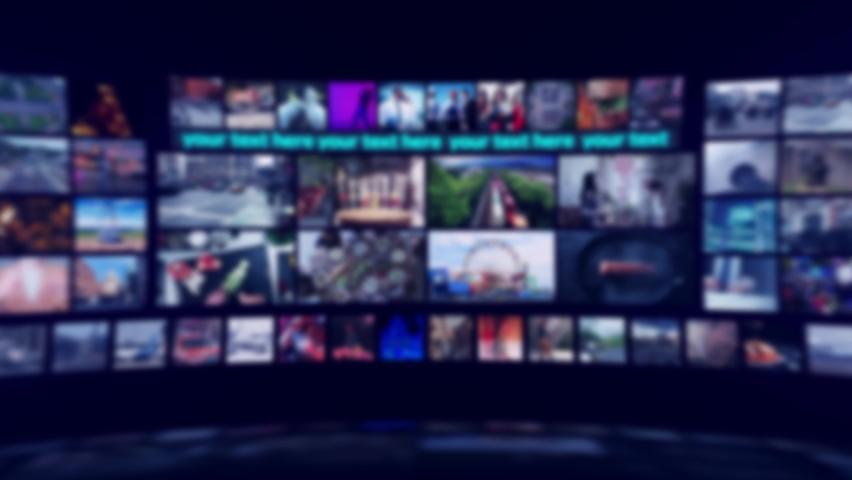 Curved Virtual Tv Studio. Blue Ambient. 4K resolution. Use Blury Studio.  | Shutterstock HD Video #1059248414