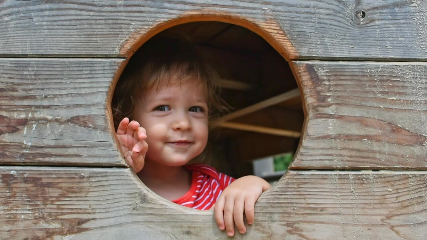 Cute little child having fun inside a wooden house in the park. Beautiful summer sunny day in children playground | Shutterstock HD Video #1059252593