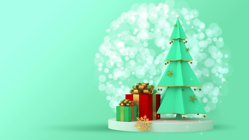 Christmas tree and gift box with snow. | Shutterstock HD Video #1059253091