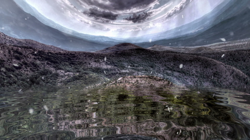 Snowing over rocky mountain reflected in water | Shutterstock HD Video #1059253325