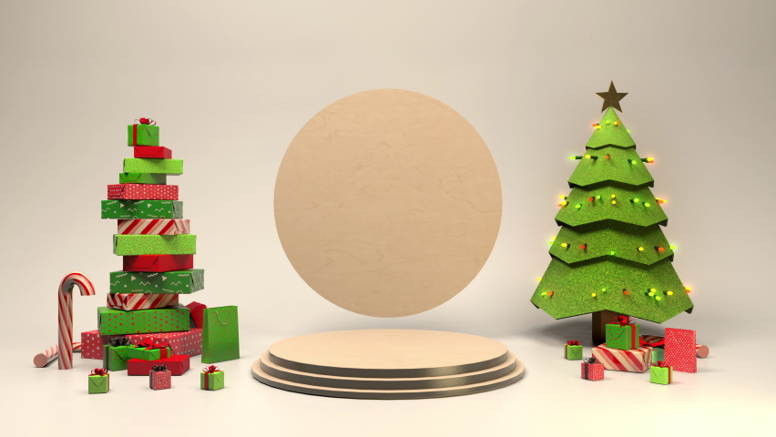 3D Animated Christmas Scene with copyspace room for your text. Tree and gifts and candy cane's make this festive scene a treat.  Royalty-Free Stock Footage #1059255701