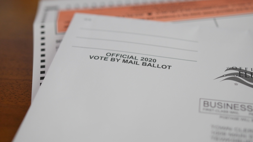 Ballot and envelope close up for election voting from home.