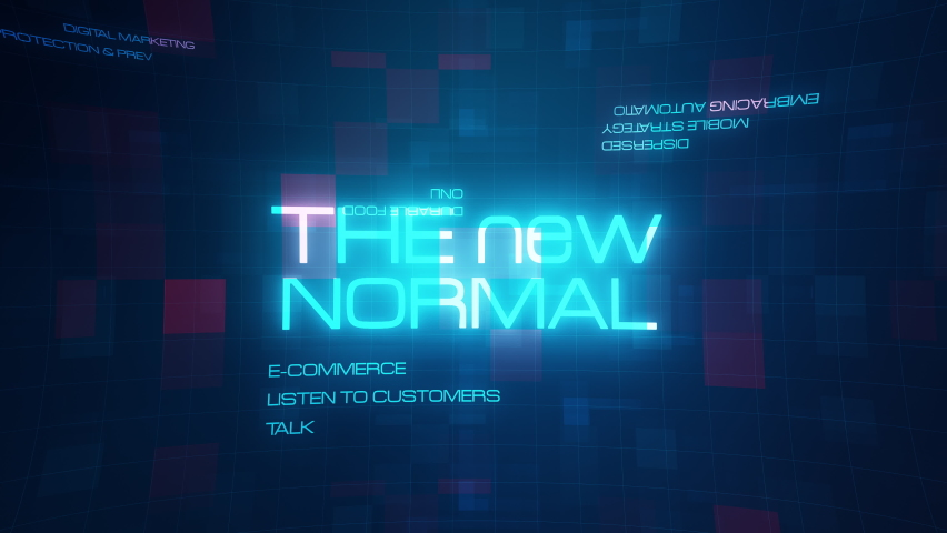 The New Normal 4K 3D creative design cinematic title trailer for new business normal background concept.The new normal word cloud text motion with digital blue red mosaic futuristic technology grid. Royalty-Free Stock Footage #1059265151