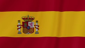Spain waving flag. Spanish realistic flag animation. Close up motion loop background footage 1080p Full HD video