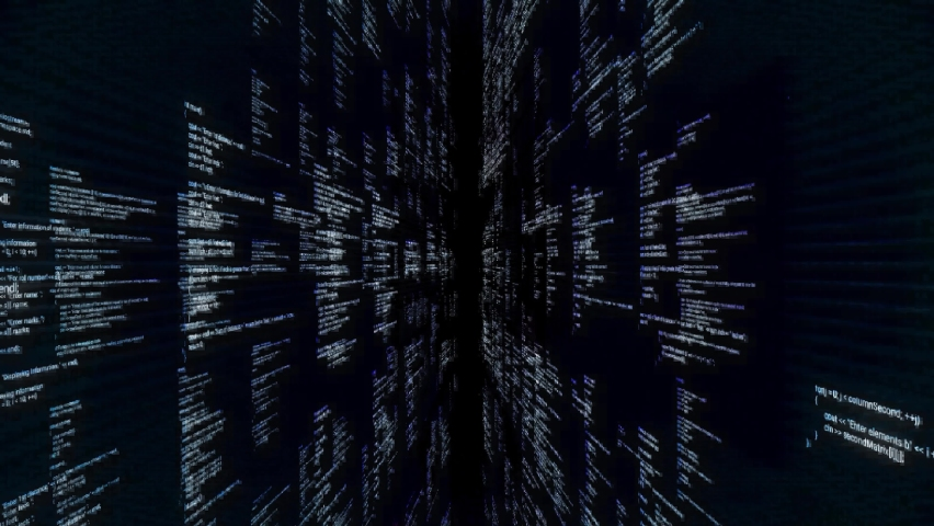 Abstract futuristic cyberspace, grunge glitch background. Animation. Concept of data center and modern technologies, moving through tons of data, seamless loop. | Shutterstock HD Video #1059273059