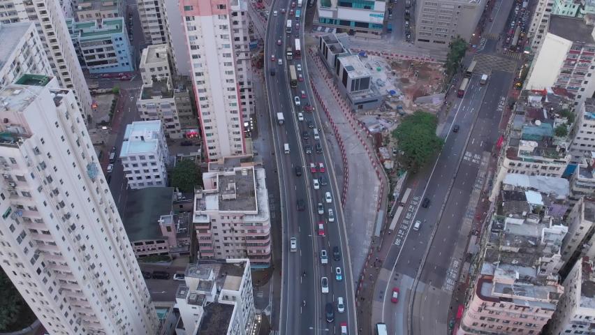 Kowloon in Hong Kong. Aerial view of traffic below.  | Shutterstock HD Video #1059274814