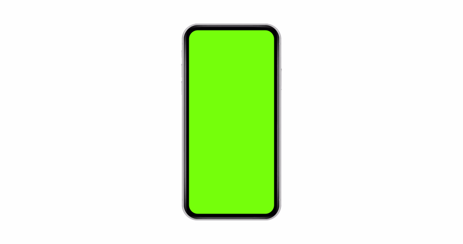 Smartphone with green screen isolated on white background. 4K animation with mobile phone mockup and motion zoom effect.