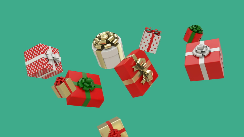 Slow motion of Christmas gift boxes floating and falling on green background. Christmas and birthday concept. 3D render with luma matte.