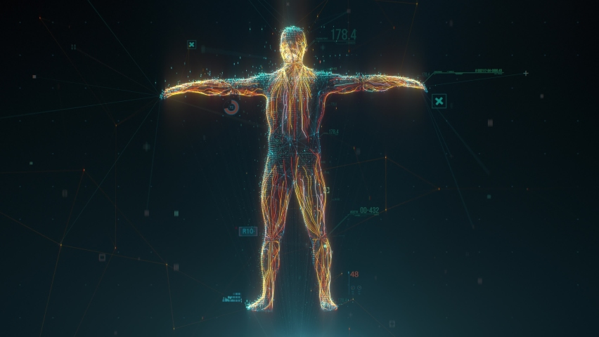 Biometric scan of human body with data and Infographics. Identification technology concept. Medical diagnostics Royalty-Free Stock Footage #1059292661