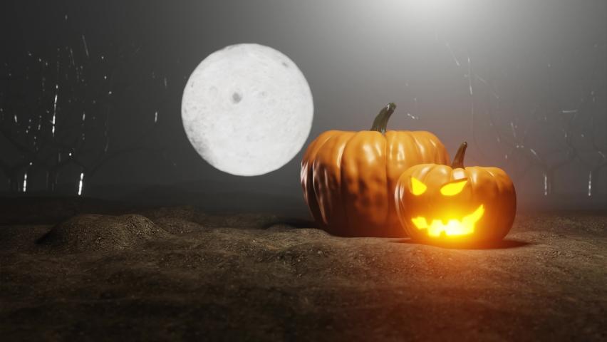 Halloween pumpkins spooky scene 4K UHD 60FPS Animation | Shutterstock HD Video #1059297560