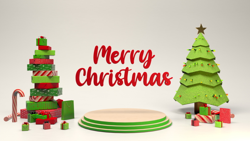 Merry Christmas 3D animated card with trees and gifts and candy cane's popping onto the screen. Joyful holiday green and red.  | Shutterstock HD Video #1059300833