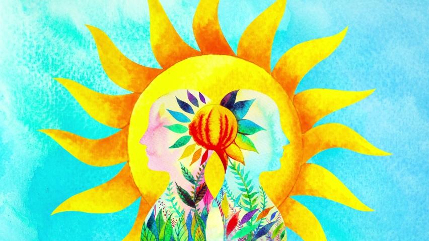 Human head meditate mind mental health yoga chakra spiritual healing abstract energy meditation connect the universe power watercolor painting illustration design drawing art stop motion ultra hd 4k