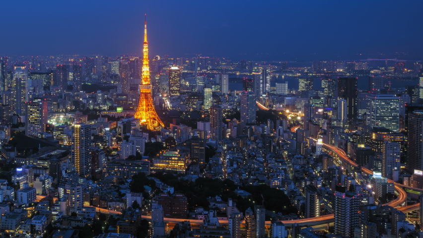 4K Zoom in Day to Night Timelapse of Tokyo city, Japan