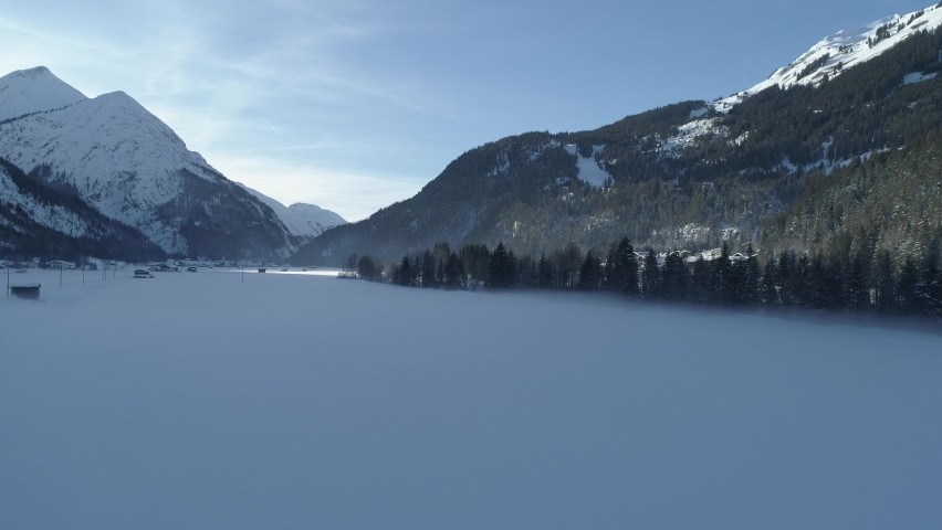 Foggy winter landscape, Lech valley Bach