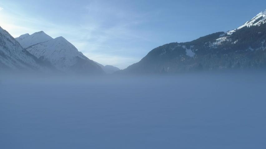 Foggy winter landscape, Lech valley Bach