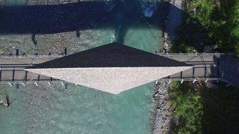 Aerial view bridge over Lech river, summer Naturpark Tiroler Lech