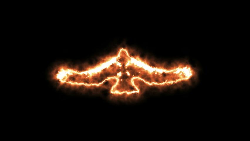 4K Fire form flying eagle animation on black background.Flying eagle fire effect.Eagle in fire