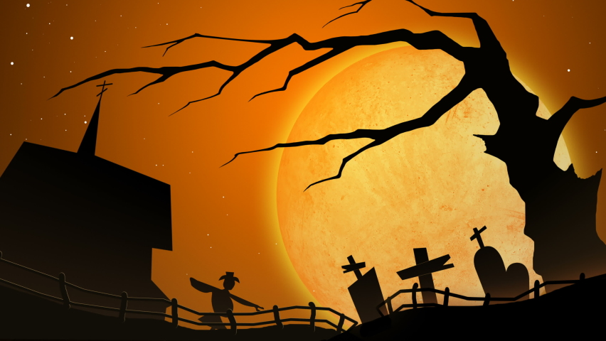 Halloween pumpkins in a protective medical face masks on  cemetery background. Second wave of coronavirus infection in autumn. New normal concept. Jack o lantern and Covid-19 concept. | Shutterstock HD Video #1059320927