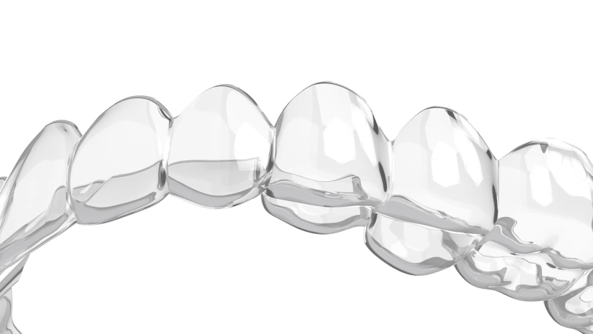 Transparent removable aligner over white background Royalty-Free Stock Footage #1059331337