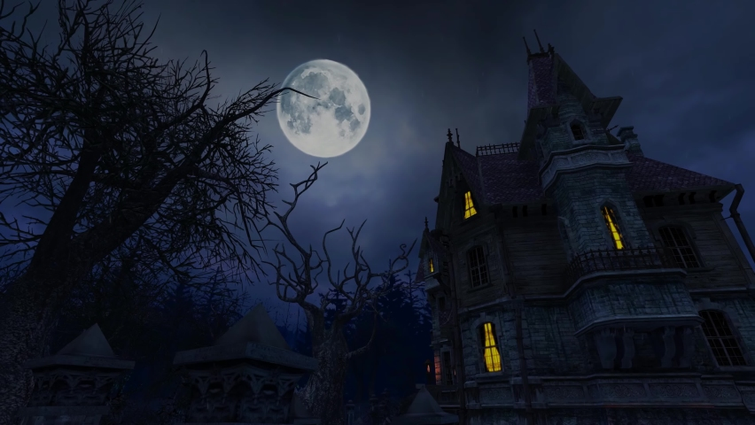 Halloween Horror Scary Haunted House Background Video Footage | Shutterstock HD Video #1059343109