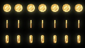 Retro 8-bit coins animation movement rotating in place. Alpha green screen in 4K.