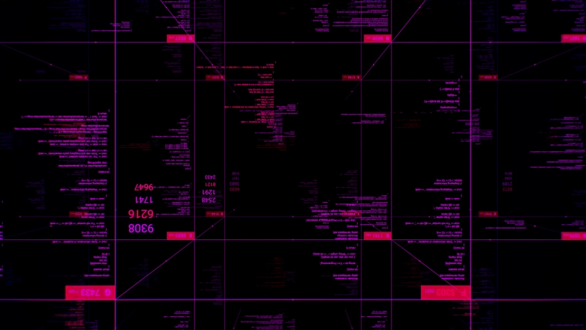 Concept of worldwide global internet. Animation. Abstract blocks with changing numbers and running lines of computer code on black bacground, seamless loop. | Shutterstock HD Video #1059357215