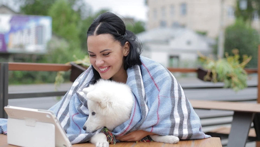 Beautiful brunette with a dog uses a laptop and looks at it | Shutterstock HD Video #1059361304