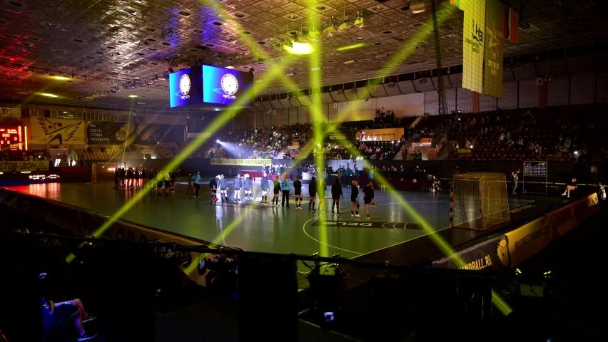 Rostov-on-Don, Russia - September 19, 2020: Handball game Rostov-Don vs Krim Mercator ( 23 - 23 ) - 2020/2021 Women's EHF Champions League - Group Round, Opening Ceremony show | Shutterstock HD Video #1059371267