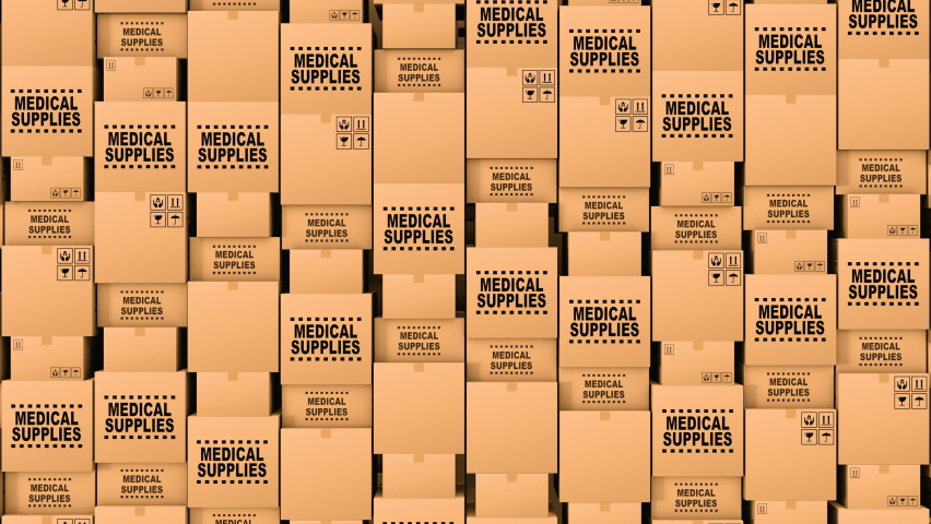 Huge amount of the cardboard boxes with medical supplies and donations. The boxes contains medical masks, gloves, dressing gowns, first aid equipment and vaccine from covid-19 coronavirus, loopable.