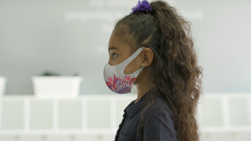 Health and Safety. A child gets her temperature checked during global pandemic before entering her classroom. Shot in 4k.  Royalty-Free Stock Footage #1059451568
