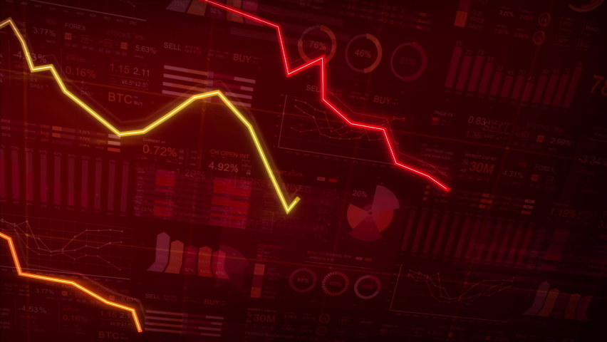 Financial figures and charts showing a downward trend, business crash and economic collapse. Economy. Technology. 3 line graphs.