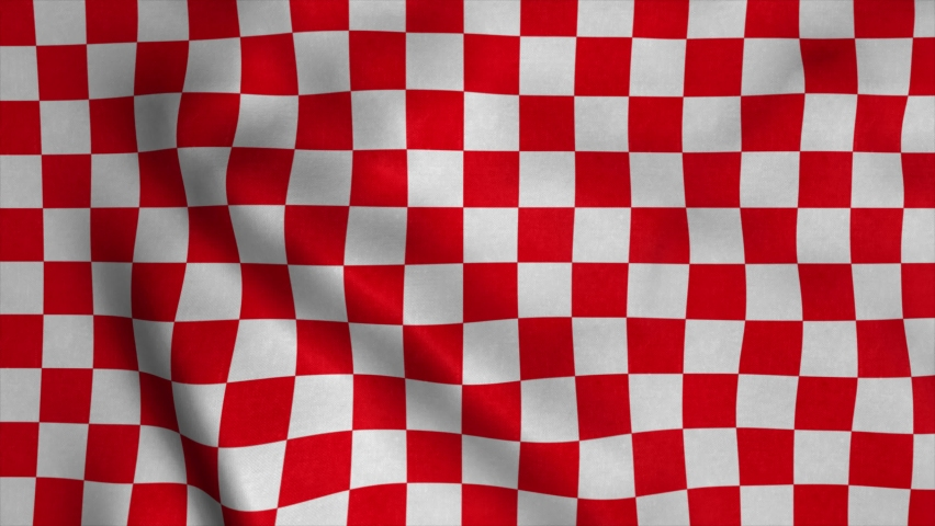 Red Checkered Racing flag. Racing Chequered Flag Waving in Wind