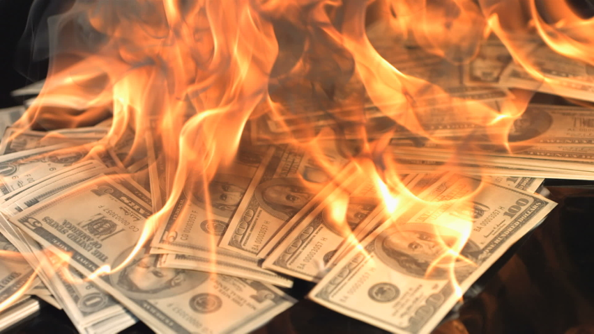slow motion dollars money on fire lost money , go on business bitcoin down arrow loser , project new start ,firying money usd ,losers ,coins  . Royalty-Free Stock Footage #1059482474
